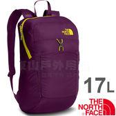 The North Face CJ2Z-XPY紫色/黃 TNF 17L可折疊輕便背包 戶外健行背包