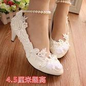 婚鞋 白色中跟伴娘鞋婚紗結婚女鞋蕾絲珍珠演出軟皮禮服鞋女