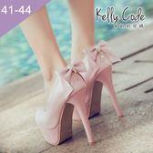 大尺碼女鞋-凱莉密碼-可拆兩穿公主後跟水鑽蝴蝶結防水台超高跟鞋14cm(41-44)【BSX-8】粉紅