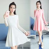 禮服女裝蕾絲連身裙顯瘦長袖白色打底裙修身夏款 法布蕾輕時尚
