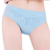 思薇爾-花語系列M-XXL蕾絲中腰三角內褲(夢霧藍)