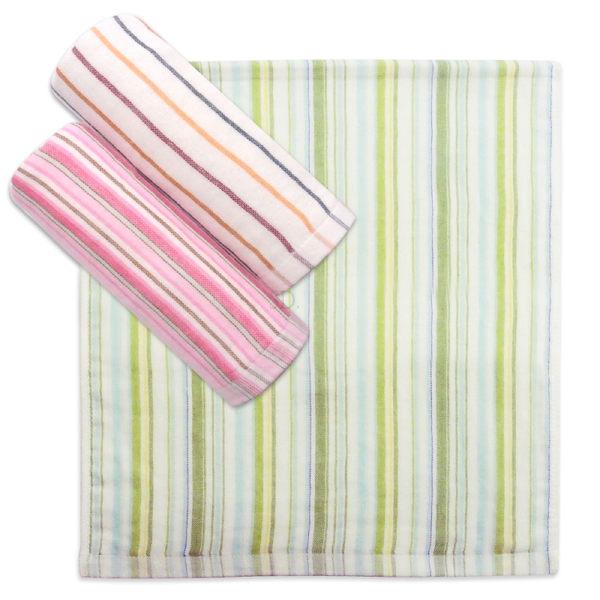 雙星Gemini日系紗布系列-SG486K 簡約法式彩條印花紗布小方巾