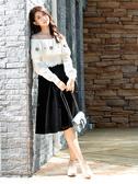 秋冬7折[H2O]可露肩兩穿縫寶石裝飾馬海毛毛衣 - 深藍/白/粉色 #9630011