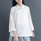 棉麻 中國風立領提花斜襟盤扣中式襯衫 復古七分袖上衣亞麻‧衣雅