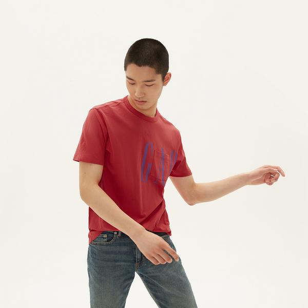 Gap 男裝 棉質舒適圓領短袖T恤 546293-夏威夷紅色