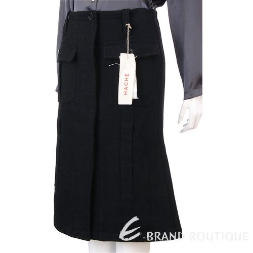 HACHE 黑色隱藏排釦毛料及膝裙 0550097-01