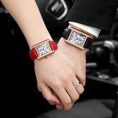 情侶對錶 長方形手錶男皮帶時尚潮流女錶精鋼男錶防水情侶石英錶xw【甲乙丙丁生活館】