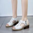 魚嘴涼鞋女韓版時尚百搭新款潮粗跟學生防滑夏平底學生復古 依凡卡時尚