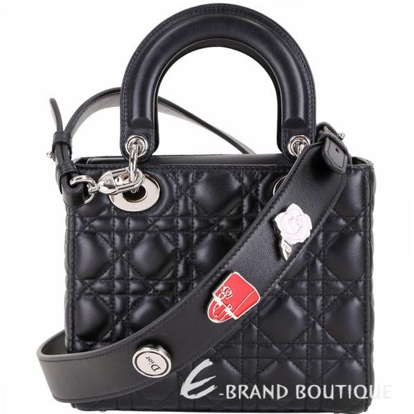 Dior My Lady Dior 黑色經典藤格紋與幸運徽章揹帶提包 1910071-01