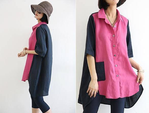 襯衫 雙色拼接前短後長五分袖口袋襯衫 艾爾莎【TGK3671】