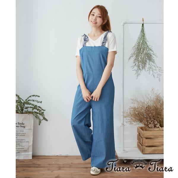 【Tiara Tiara】夏日繪花綁帶肩吊帶褲(藍)