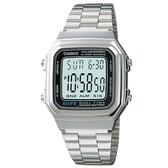 【CASIO】復古方形經典電子錶-銀(A-178WA-1A)