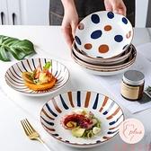 陶瓷盤子手繪菜盤家用餐盤日式圓盤深盤【大碼百分百】