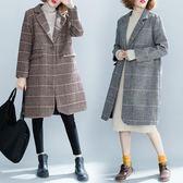 格子毛呢外套女 中長款新款秋冬文藝森系胖mm百搭長袖呢子大衣 週年慶降價