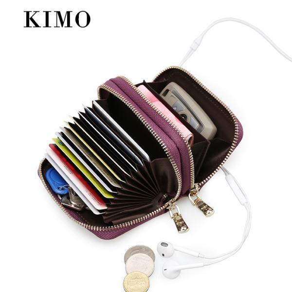 春季上新 KIMO新款男女式卡包 女真皮歐美多功能零錢包硬幣包牛皮小卡夾