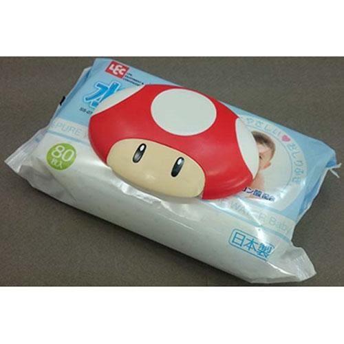 日本 超級瑪莉 馬力歐 紅蘑菇 濕紙巾黏貼蓋