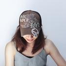 又敗家@韓國製造CapKorea十字架閃亮貼鑽潮帽(超透氣帽網眼帽)粗曠布邊圖形彎檐帽遮陽帽防曬帽