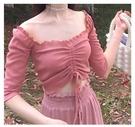 一字肩上衣 晚時光夏蜜桃粉一字領中袖上衣露肩t恤女長袖中袖褶皺抽繩T豆沙藍 果果生活館