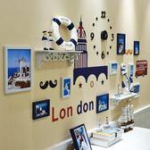 照片牆 照片牆裝飾相框牆簡約現代地中海風格背景牆客廳臥室組合相片掛牆T