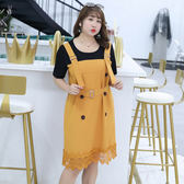 中大尺碼~花邊雙排扣假兩件短袖洋裝(XL~4XL)