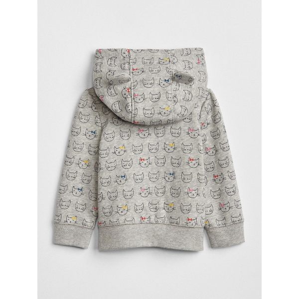 Gap女嬰兒 logo連帽休閒外套 秋季寶寶童裝長袖上衣 372017-淺麻灰