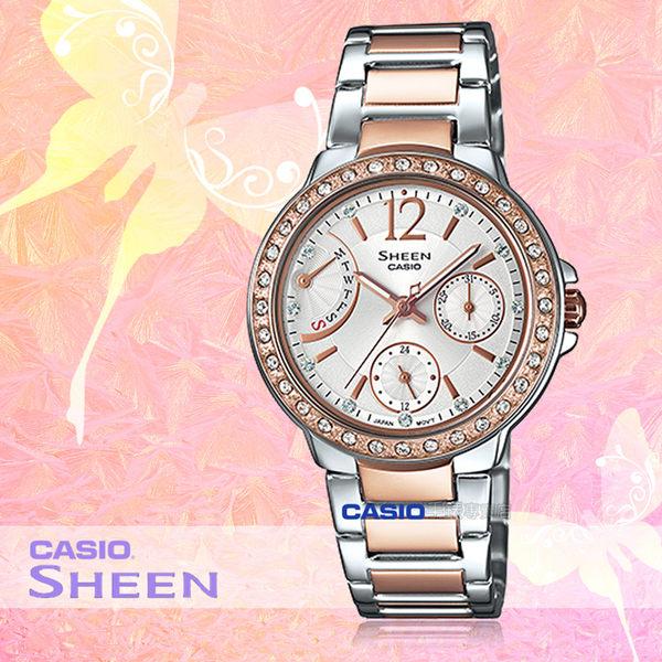CASIO 卡西歐 手錶專賣店 SHEEN SHE-3805SPG-7A 女錶 不鏽鋼錶帶粉紅金色離子 一觸式3倍扣 防水