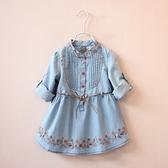 新品女童系帶長袖牛仔裙領口褶皺裙繡花連衣裙