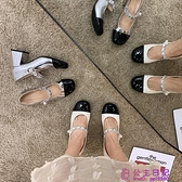 單鞋女春秋春季新款純色復古百搭時尚百搭水鉆粗跟圓頭高跟鞋超級品牌【公主日記】