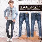 個性湛藍皮革造型牛仔褲