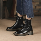手工大尺碼真皮女鞋34~42 2020經典款舒適休閒馬油牛皮皮毛一體圓頭中跟雪靴 馬丁靴 短靴子~黑色