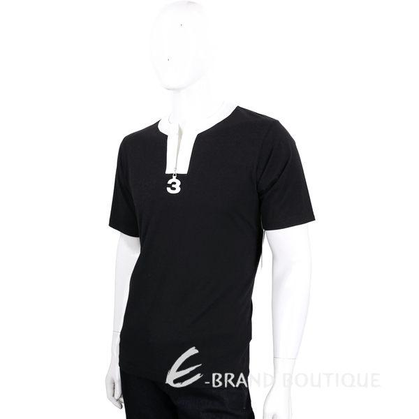Y-3 黑白撞色V領拉鍊設計棉質短袖T恤 1620562-37