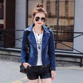 牛仔外套女短款2018秋季新款韓版小西裝修身顯瘦拉鏈上衣時尚夾克 美芭