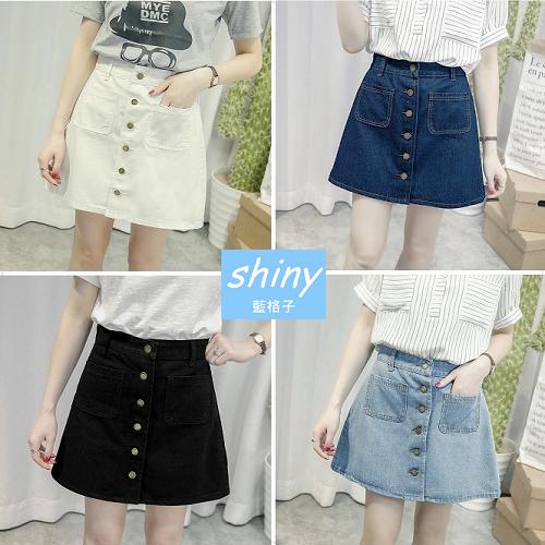 【V1877】shiny藍格子-復古時代.雙口袋高腰單排釦A字牛仔短裙