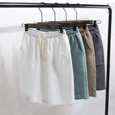 男士短褲薄款棉麻休閒褲運動韓版潮沙灘五分褲寬鬆大褲衩   琉璃美衣