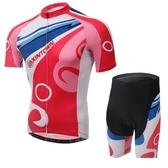 自行車衣-(短袖套裝)-透氣舒適時尚戶外男單車服套裝73er35【時尚巴黎】
