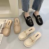 懶人鞋 包頭半拖鞋女外穿2021新款春夏小皮鞋娃娃大頭粗跟懶人穆勒涼拖鞋 嬡孕哺 免運