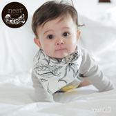 口水巾 嬰兒紗布三角巾寶寶4層竹棉圍嘴按扣 2件裝 df10228【Sweet家居】
