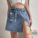 短裙 復古工裝包包半身裙女高腰A字裙拉鏈設計感開叉牛仔短裙夏 限時折扣