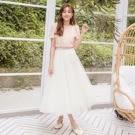 裙子 素色雙層網紗鬆緊紗裙長裙-Ruby s 露比午茶