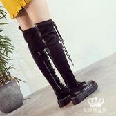 長靴 瘦瘦靴秋季小個女過膝彈力厚底綁帶馬丁靴