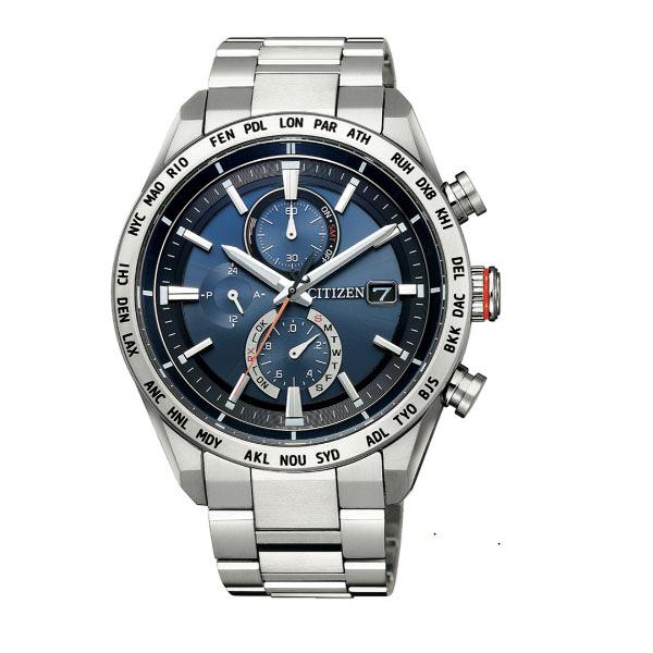 CITIZEN星辰Eco-Drive  廣告款 紳士簡約電波光動能萬年曆腕錶 AT8181-63L 藍面