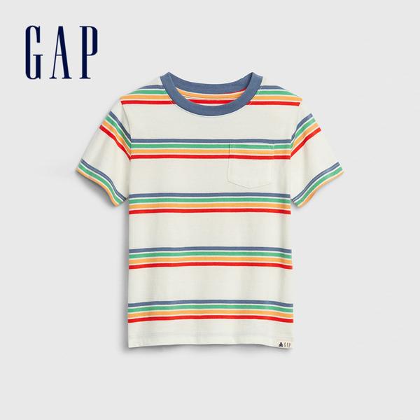 Gap男幼棉質舒適圓領短袖T恤545904-彩虹條紋