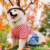 狗狗衣服   中大型犬秋冬四腳加絨衣服簡約條紋拼接牛仔可愛寵物衣服 KB10385【歐爸生活館】