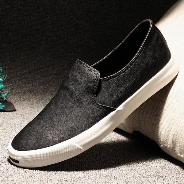 休閒鞋男 懶人鞋 男鞋潮鞋一腳蹬不系帶樂福鞋板鞋韓版秋冬鞋子平底鞋《印象精品》q2029