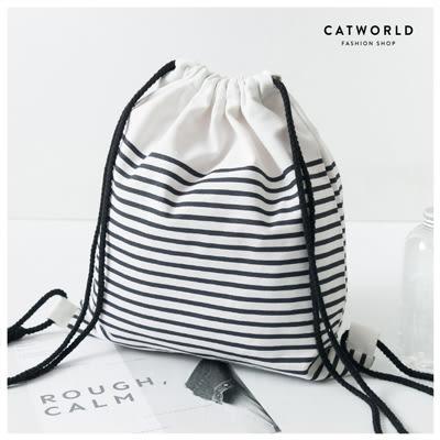 Catworld 無印風條紋束口袋【19500781】‧F*特價