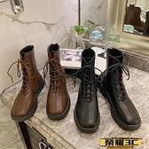 馬丁靴 棕色方頭馬丁靴女英倫風2021秋冬季新款潮網紅瘦瘦炸街短靴子 榮耀3C