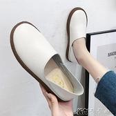 豆豆鞋女季新款平底單鞋軟底懶人一腳蹬媽媽白色護士鞋子 【全館免運】