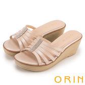 ORIN 夏日耀眼時尚 水鑽排列飾釦牛皮楔型涼鞋-粉紅