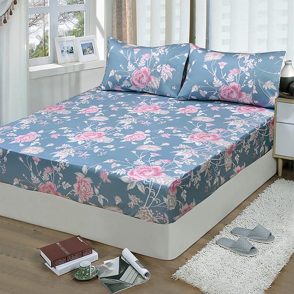 【FITNESS】精梳棉單人床包枕套二件組-粉妝輕抹(藍灰)_TRP多利寶