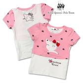 粉色假兩件式貓咪圖T 女童短袖上衣  RQ POLO 小童春夏款[8149]